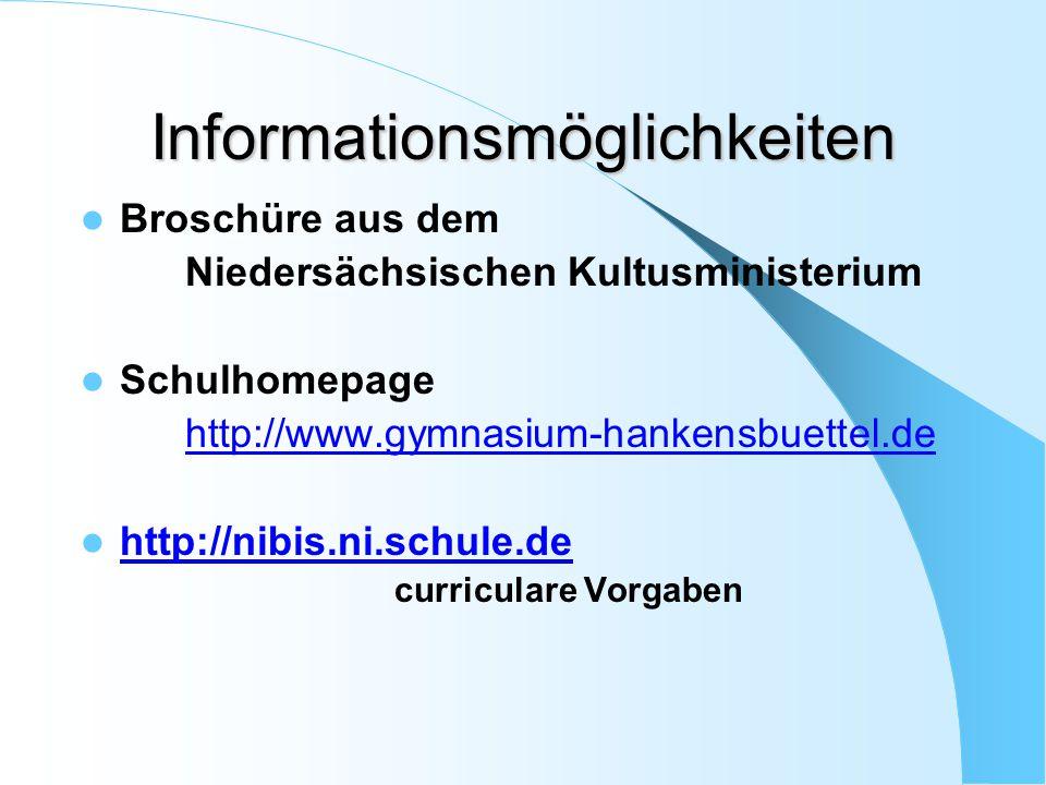 Informationsmöglichkeiten Broschüre aus dem Niedersächsischen Kultusministerium Schulhomepage http://www.gymnasium-hankensbuettel.de http://nibis.ni.s