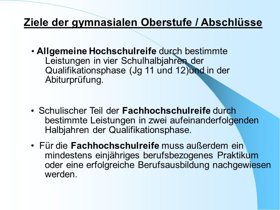 Ziele der gymnasialen Oberstufe / Abschlüsse Allgemeine Hochschulreife durch bestimmte Leistungen in vier Schulhalbjahren der Qualifikationsphase(Jg 1