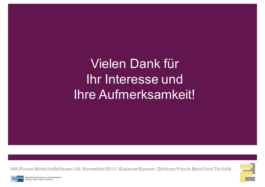 IHK-Forum Wirtschaftsfrauen / 04. November 2013 / Susanne Eyssen / Zentrum Frau in Beruf und Technik Vielen Dank für Ihr Interesse und Ihre Aufmerksam