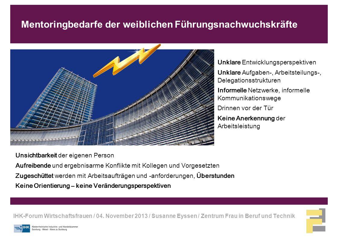 IHK-Forum Wirtschaftsfrauen / 04. November 2013 / Susanne Eyssen / Zentrum Frau in Beruf und Technik Mentoringbedarfe der weiblichen Führungsnachwuchs