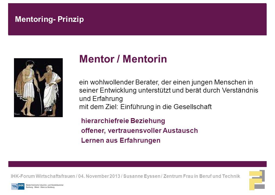IHK-Forum Wirtschaftsfrauen / 04. November 2013 / Susanne Eyssen / Zentrum Frau in Beruf und Technik Mentor / Mentorin ein wohlwollender Berater, der