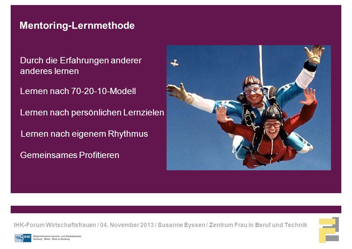 IHK-Forum Wirtschaftsfrauen / 04. November 2013 / Susanne Eyssen / Zentrum Frau in Beruf und Technik Lernen nach 70-20-10-Modell Durch die Erfahrungen