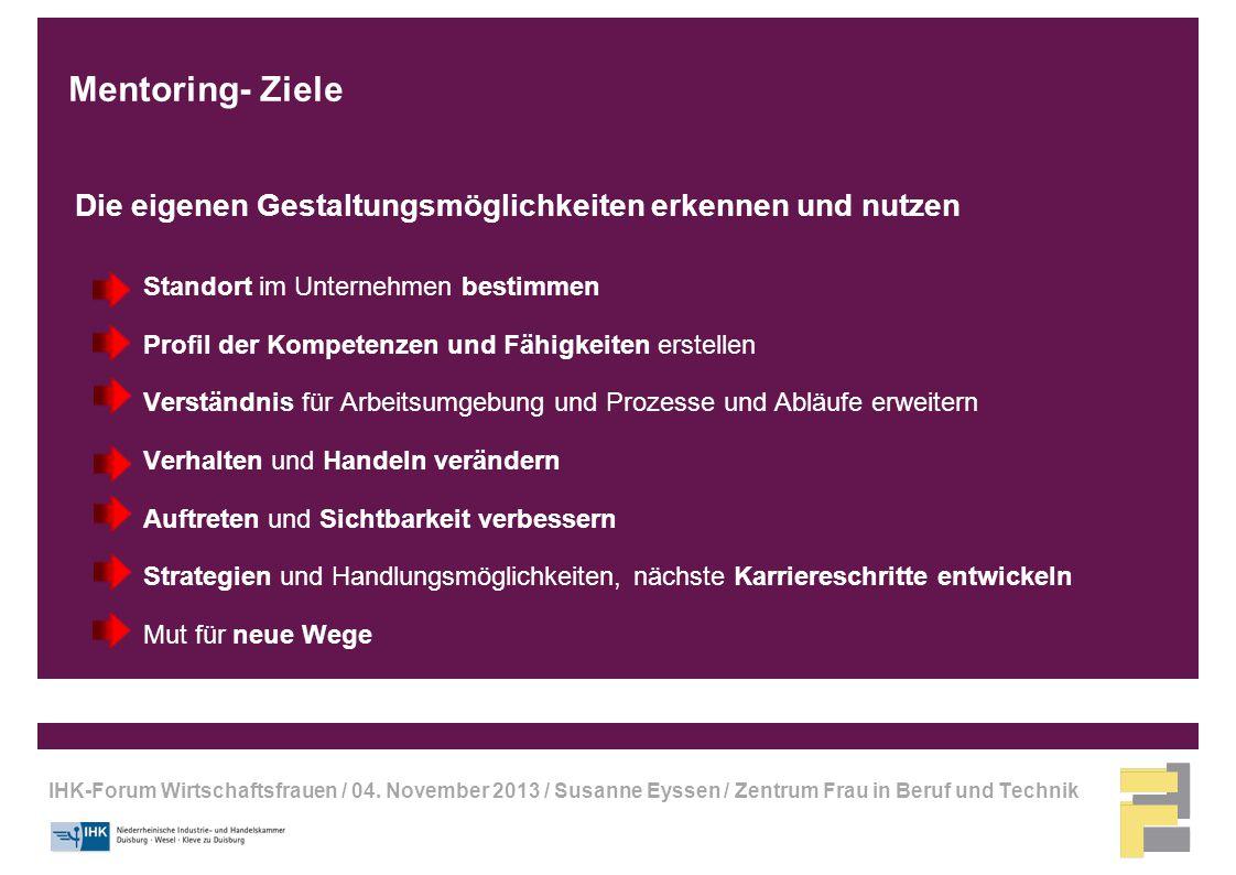 IHK-Forum Wirtschaftsfrauen / 04. November 2013 / Susanne Eyssen / Zentrum Frau in Beruf und Technik Mentoring- Ziele Die eigenen Gestaltungsmöglichke