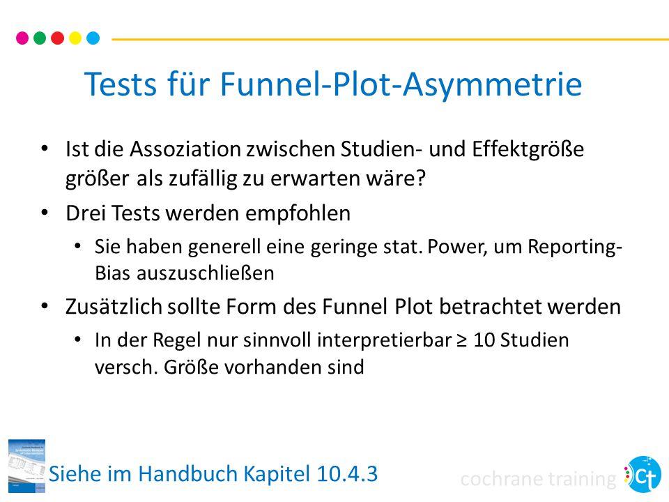 cochrane training Tests für Funnel-Plot-Asymmetrie Ist die Assoziation zwischen Studien- und Effektgröße größer als zufällig zu erwarten wäre.