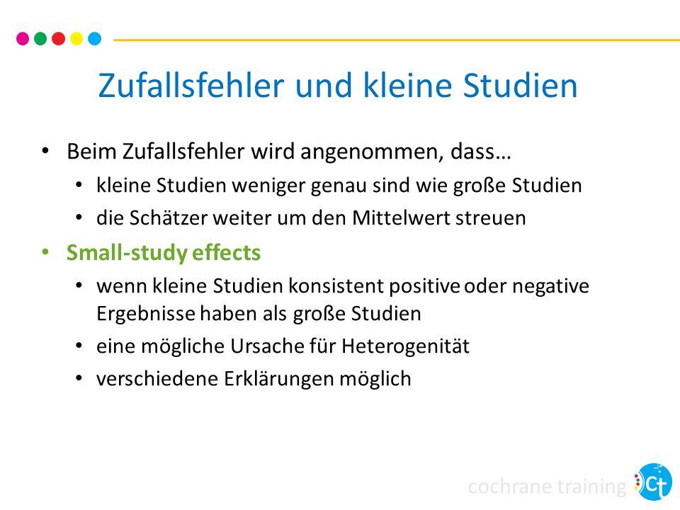 cochrane training Zufallsfehler und kleine Studien Beim Zufallsfehler wird angenommen, dass… kleine Studien weniger genau sind wie große Studien die S