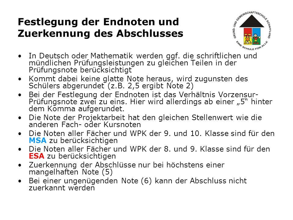 Festlegung der Endnoten und Zuerkennung des Abschlusses In Deutsch oder Mathematik werden ggf. die schriftlichen und mündlichen Prüfungsleistungen zu