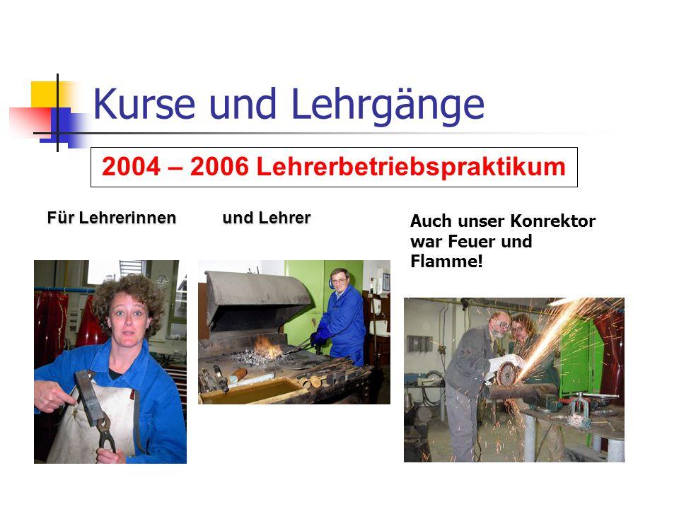 Kurse und Lehrgänge 2004 – 2006 Lehrerbetriebspraktikum Auch unser Konrektor war Feuer und Flamme! Für Lehrerinnen und Lehrer