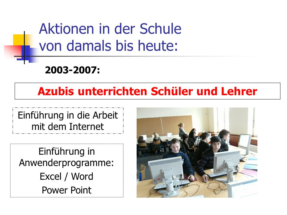 Aktionen in der Schule von damals bis heute: Azubis unterrichten Schüler und Lehrer Einführung in Anwenderprogramme: Excel / Word Power Point Einführung in die Arbeit mit dem Internet 2003-2007: