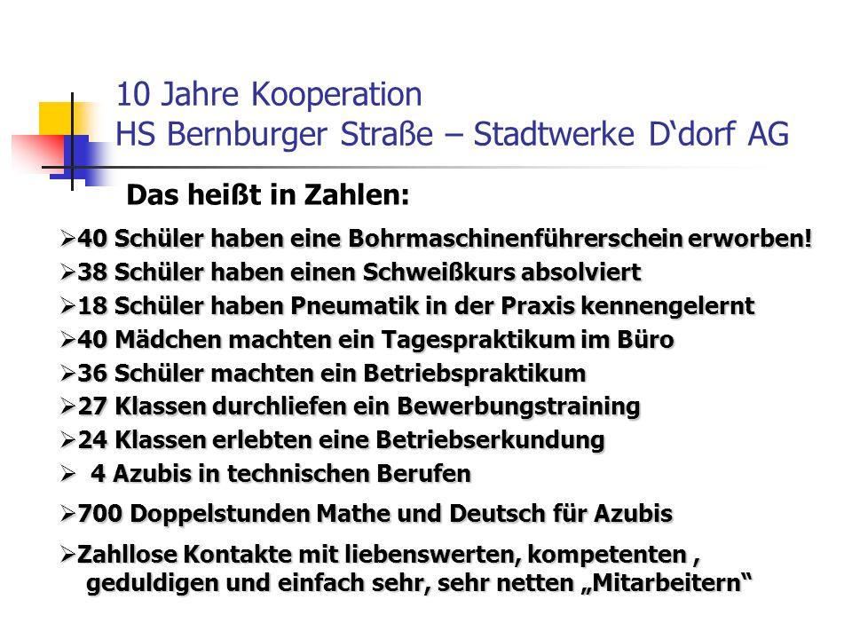 10 Jahre Kooperation HS Bernburger Straße – Stadtwerke D'dorf AG  40 Schüler haben eine Bohrmaschinenführerschein erworben!  38 Schüler haben einen