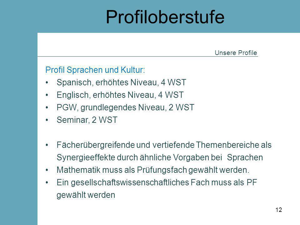 Profiloberstufe Unsere Profile Profil Sprachen und Kultur: Spanisch, erhöhtes Niveau, 4 WST Englisch, erhöhtes Niveau, 4 WST PGW, grundlegendes Niveau