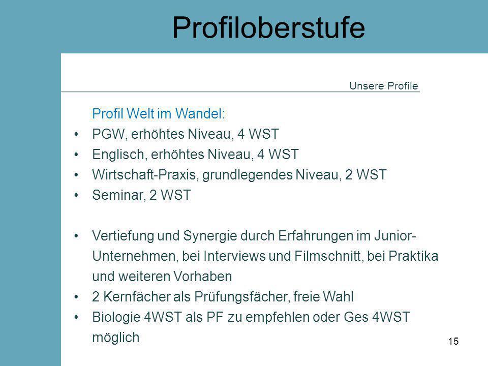 Profiloberstufe Unsere Profile Profil Welt im Wandel: PGW, erhöhtes Niveau, 4 WST Englisch, erhöhtes Niveau, 4 WST Wirtschaft-Praxis, grundlegendes Ni