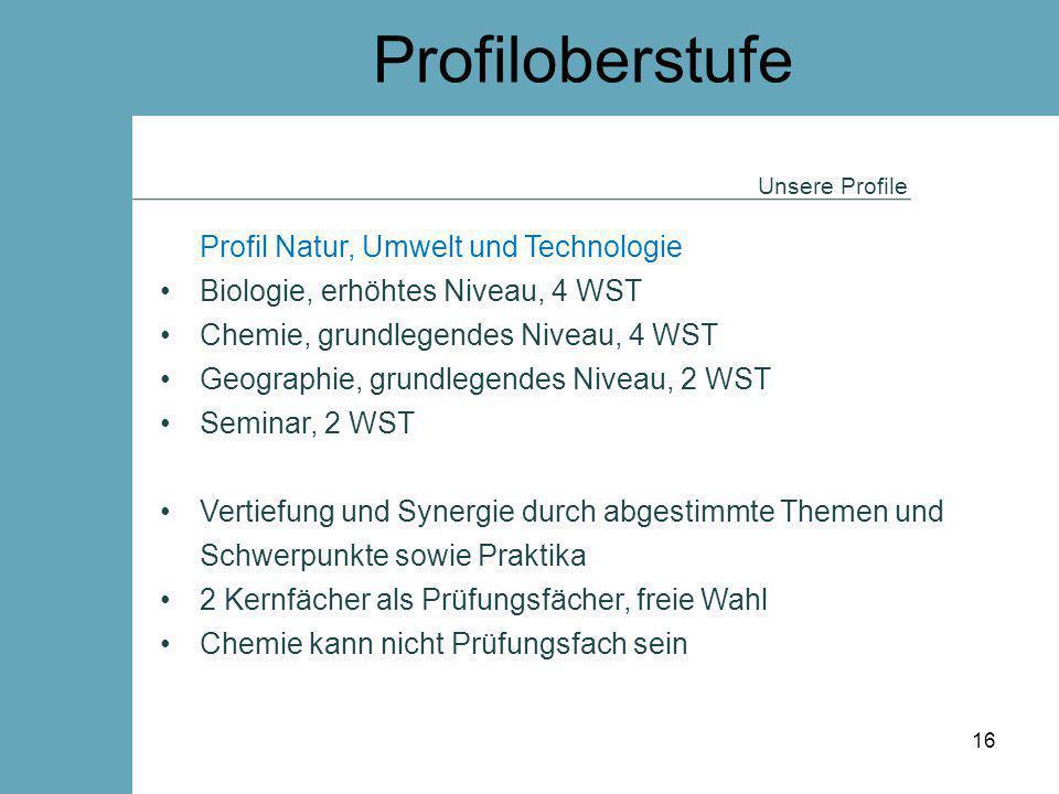 Profiloberstufe Unsere Profile Profil Natur, Umwelt und Technologie Biologie, erhöhtes Niveau, 4 WST Chemie, grundlegendes Niveau, 4 WST Geographie, g