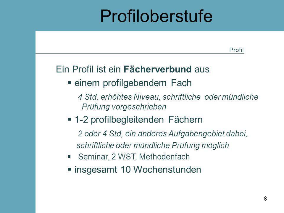 Profiloberstufe Profil Ein Profil ist ein Fächerverbund aus  einem profilgebendem Fach 4 Std, erhöhtes Niveau, schriftliche oder mündliche Prüfung vo