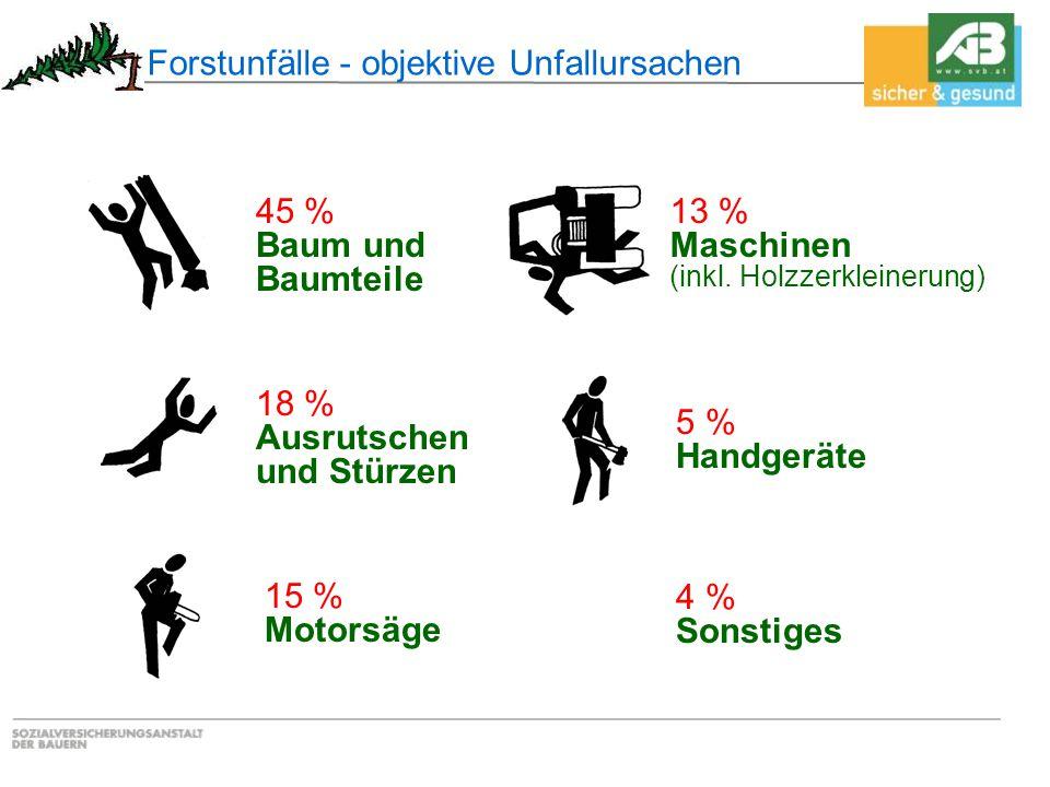Forstunfälle - objektive Unfallursachen 45 % Baum und Baumteile 18 % Ausrutschen und Stürzen 15 % Motorsäge 13 % Maschinen (inkl. Holzzerkleinerung) 5