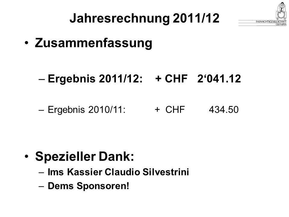 Jahresrechnung 2011/12 Zusammenfassung –Ergebnis 2011/12: + CHF 2'041.12 –Ergebnis 2010/11: + CHF 434.50 Spezieller Dank: –Ims Kassier Claudio Silvestrini –Dems Sponsoren!