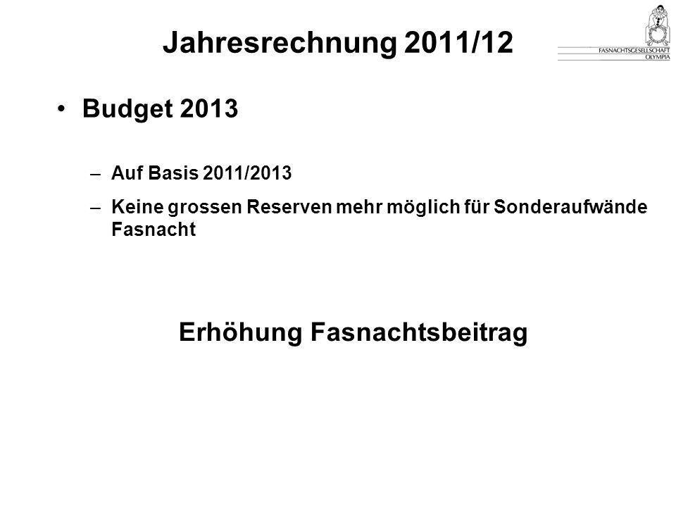 Jahresrechnung 2011/12 Budget 2013 –Auf Basis 2011/2013 –Keine grossen Reserven mehr möglich für Sonderaufwände Fasnacht Erhöhung Fasnachtsbeitrag