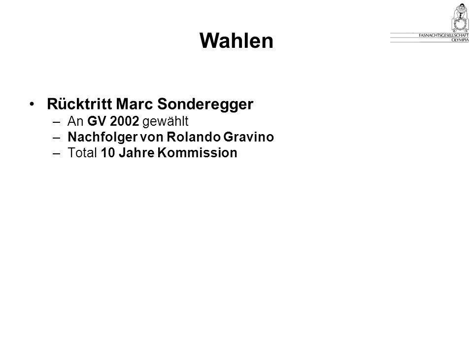 Wahlen Rücktritt Marc Sonderegger –An GV 2002 gewählt –Nachfolger von Rolando Gravino –Total 10 Jahre Kommission