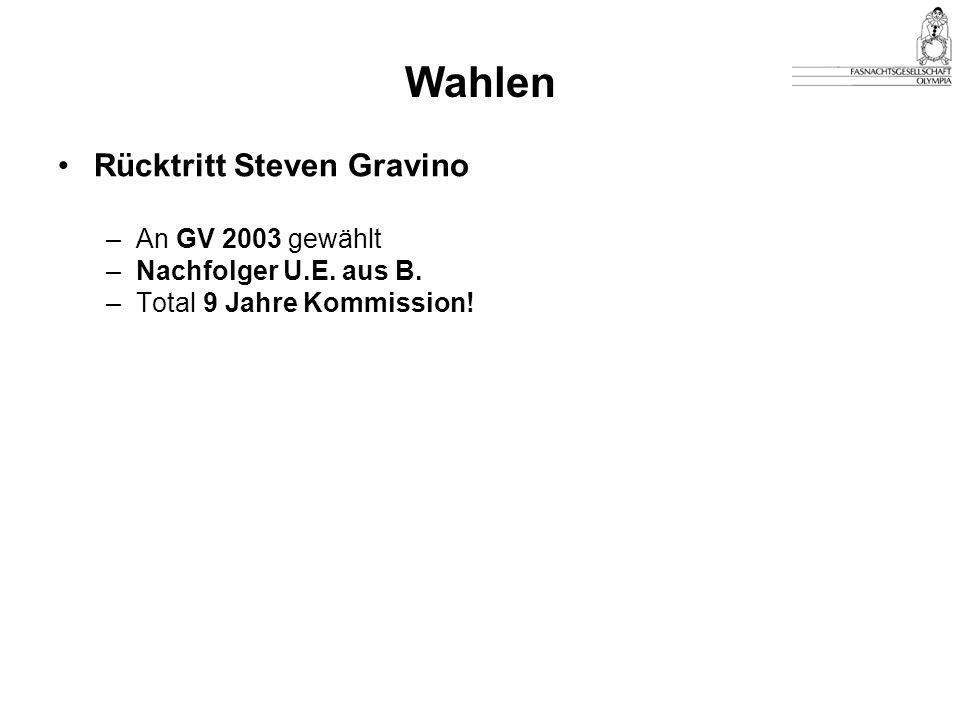 Rücktritt Steven Gravino –An GV 2003 gewählt –Nachfolger U.E. aus B. –Total 9 Jahre Kommission!