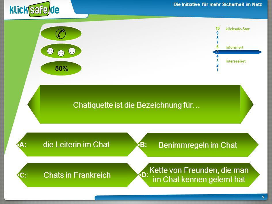 A : B: C: D: 50% klicksafe-Star Informiert Interessiert 10 9 8 7 6 5 4 3 2 1 Die Initiative für mehr Sicherheit im Netz 9 Chatiquette ist die Bezeichnung für… die Leiterin im Chat Benimmregeln im Chat Chats in Frankreich Kette von Freunden, die man im Chat kennen gelernt hat 10 9 8 7 6 5 4 3 2 1