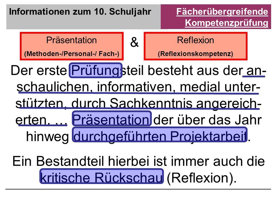 Informationen zum 10. SchuljahrFächerübergreifende Kompetenzprüfung Präsentation (Methoden-/Personal-/ Fach-) Reflexion (Reflexionskompetenz) & Der er