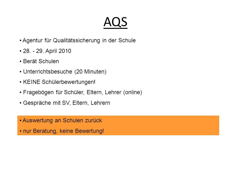 AQS Agentur für Qualitätssicherung in der Schule 28. - 29. April 2010 Berät Schulen Unterrichtsbesuche (20 Minuten) KEINE Schülerbewertungen! Fragebög