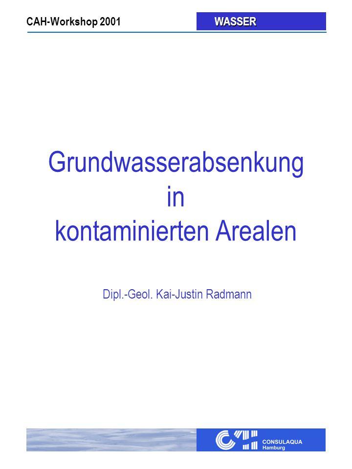 CAH-Workshop 2001 WASSER WASSER Grundwasserabsenkung in kontaminierten Arealen Dipl.-Geol.