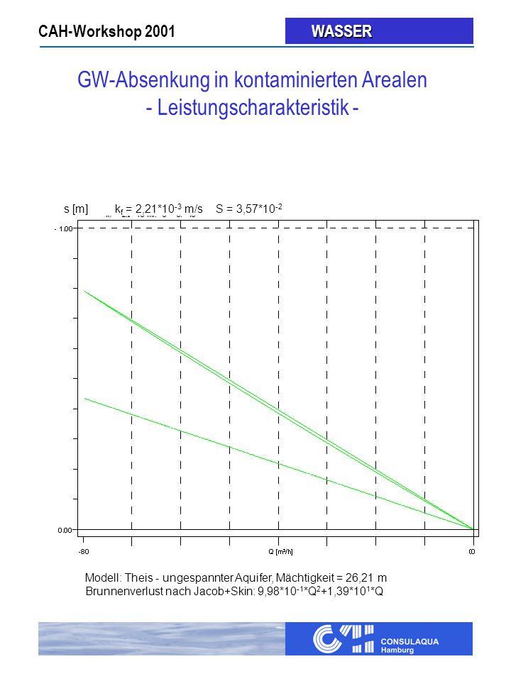 CAH-Workshop 2001 WASSER WASSER Modell: Theis - ungespannter Aquifer, Mächtigkeit = 26,21 m Brunnenverlust nach Jacob+Skin: 9,98*10 -1 *Q 2 +1,39*10 1 *Q s [m]k f = 2,21*10 -3 m/s S = 3,57*10 -2 GW-Absenkung in kontaminierten Arealen - Leistungscharakteristik -