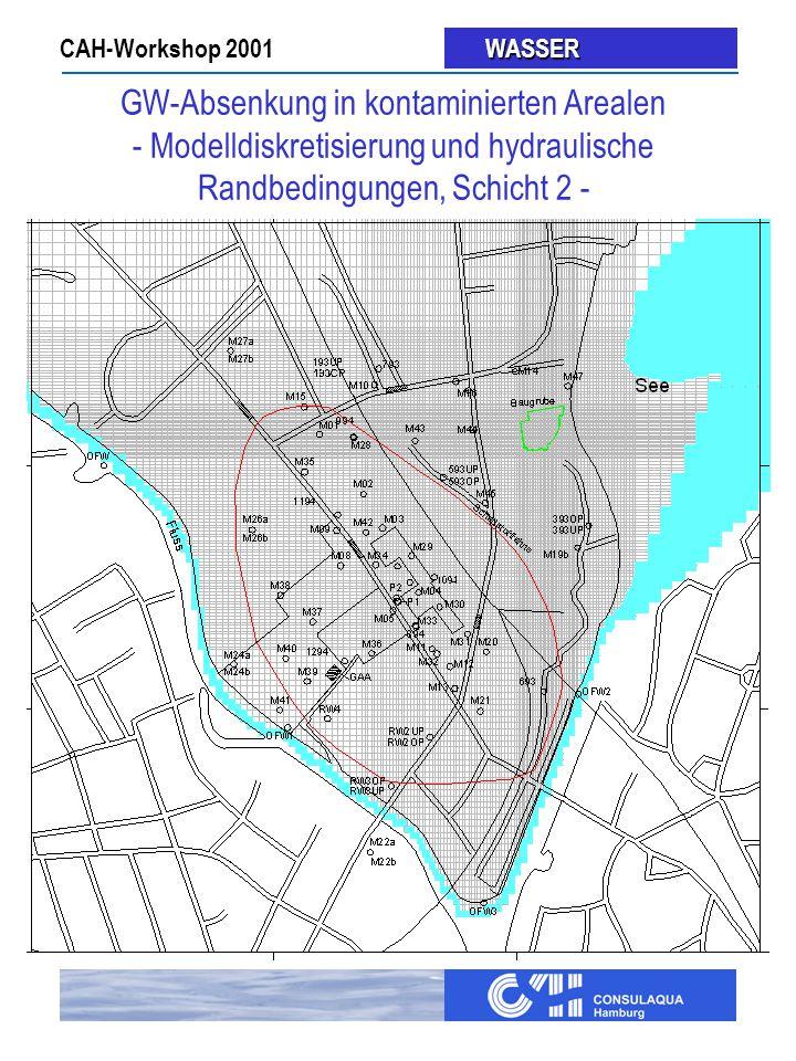 CAH-Workshop 2001 WASSER WASSER GW-Absenkung in kontaminierten Arealen - Modelldiskretisierung und hydraulische Randbedingungen, Schicht 2 -