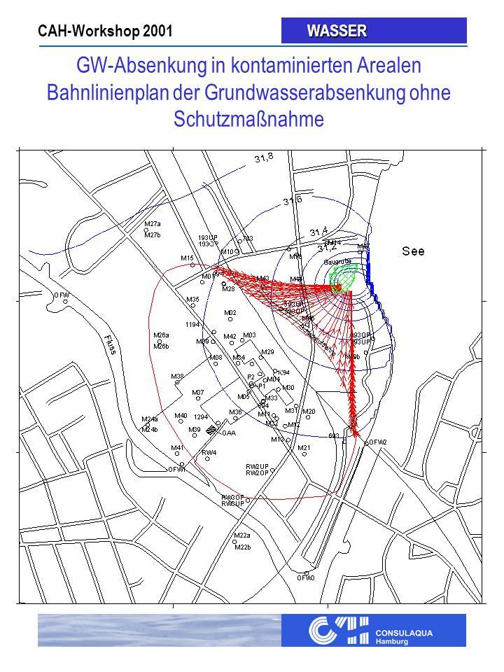 CAH-Workshop 2001 WASSER WASSER GW-Absenkung in kontaminierten Arealen Bahnlinienplan der Grundwasserabsenkung ohne Schutzmaßnahme