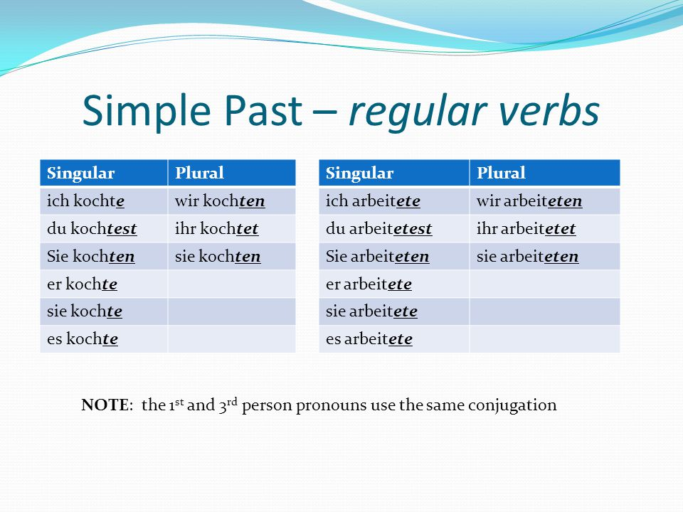 Simple Past – irregular verbs You've already been introduced to irregular verbs from the perfect tense.