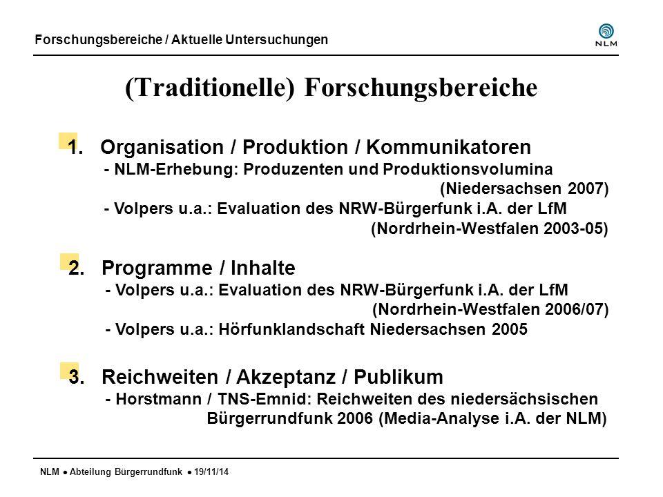 NLM  Abteilung Bürgerrundfunk  19/11/14 (Traditionelle) Forschungsbereiche Forschungsbereiche / Aktuelle Untersuchungen 1.Organisation / Produktion / Kommunikatoren - NLM-Erhebung: Produzenten und Produktionsvolumina (Niedersachsen 2007) - Volpers u.a.: Evaluation des NRW-Bürgerfunk i.A.