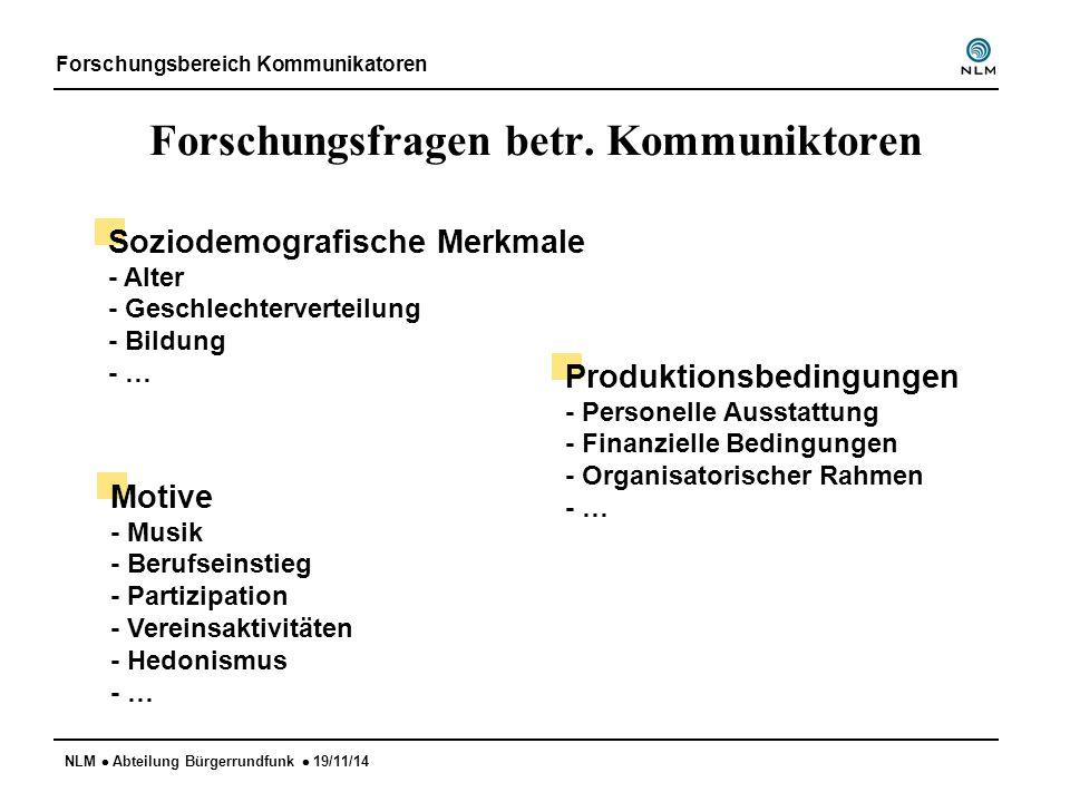 NLM  Abteilung Bürgerrundfunk  19/11/14 Forschungsfragen betr. Kommuniktoren Forschungsbereich Kommunikatoren Soziodemografische Merkmale - Alter -