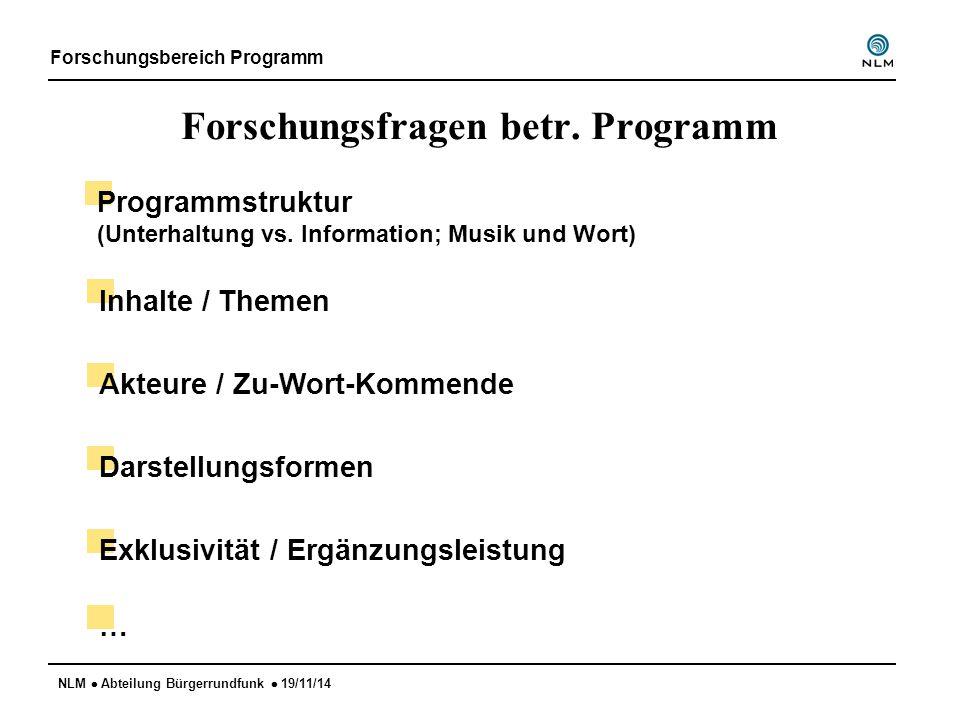 NLM  Abteilung Bürgerrundfunk  19/11/14 Forschungsfragen betr. Programm Forschungsbereich Programm Programmstruktur (Unterhaltung vs. Information; M
