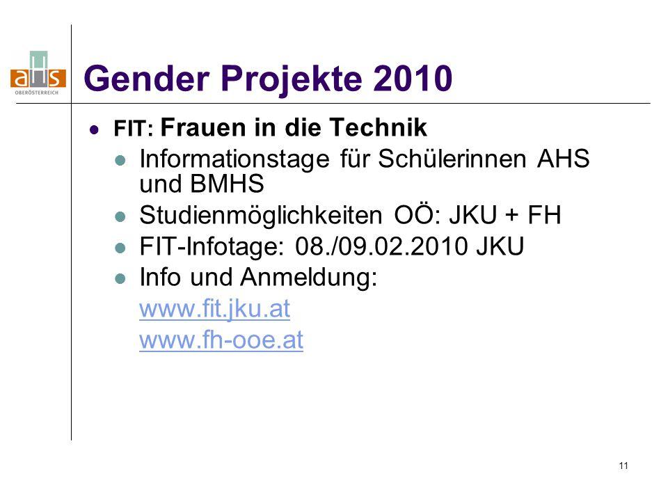 11 FIT: Frauen in die Technik Informationstage für Schülerinnen AHS und BMHS Studienmöglichkeiten OÖ: JKU + FH FIT-Infotage: 08./09.02.2010 JKU Info und Anmeldung: www.fit.jku.at www.fh-ooe.at Gender Projekte 2010