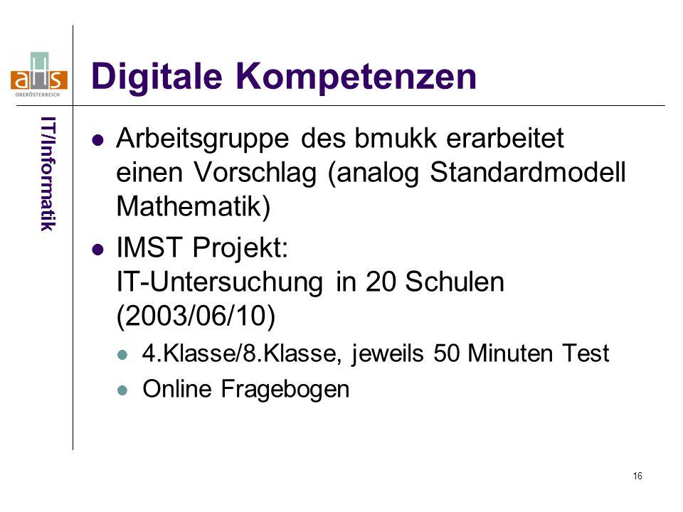 16 Digitale Kompetenzen Arbeitsgruppe des bmukk erarbeitet einen Vorschlag (analog Standardmodell Mathematik) IMST Projekt: IT-Untersuchung in 20 Schulen (2003/06/10) 4.Klasse/8.Klasse, jeweils 50 Minuten Test Online Fragebogen IT/Informatik