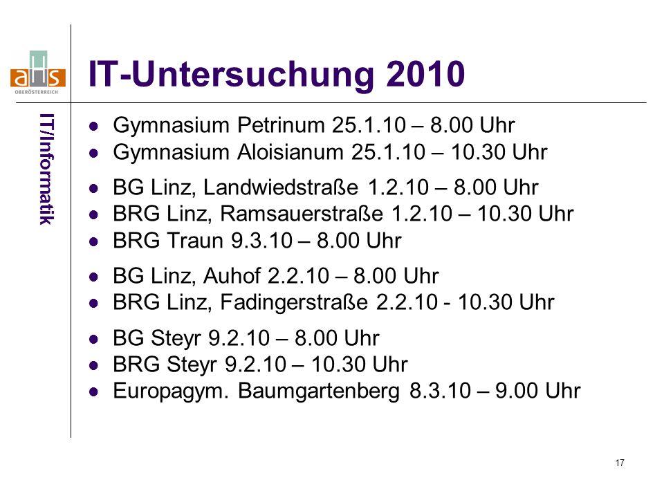 17 IT-Untersuchung 2010 Gymnasium Petrinum 25.1.10 – 8.00 Uhr Gymnasium Aloisianum 25.1.10 – 10.30 Uhr BG Linz, Landwiedstraße 1.2.10 – 8.00 Uhr BRG Linz, Ramsauerstraße 1.2.10 – 10.30 Uhr BRG Traun 9.3.10 – 8.00 Uhr BG Linz, Auhof 2.2.10 – 8.00 Uhr BRG Linz, Fadingerstraße 2.2.10 - 10.30 Uhr BG Steyr 9.2.10 – 8.00 Uhr BRG Steyr 9.2.10 – 10.30 Uhr Europagym.
