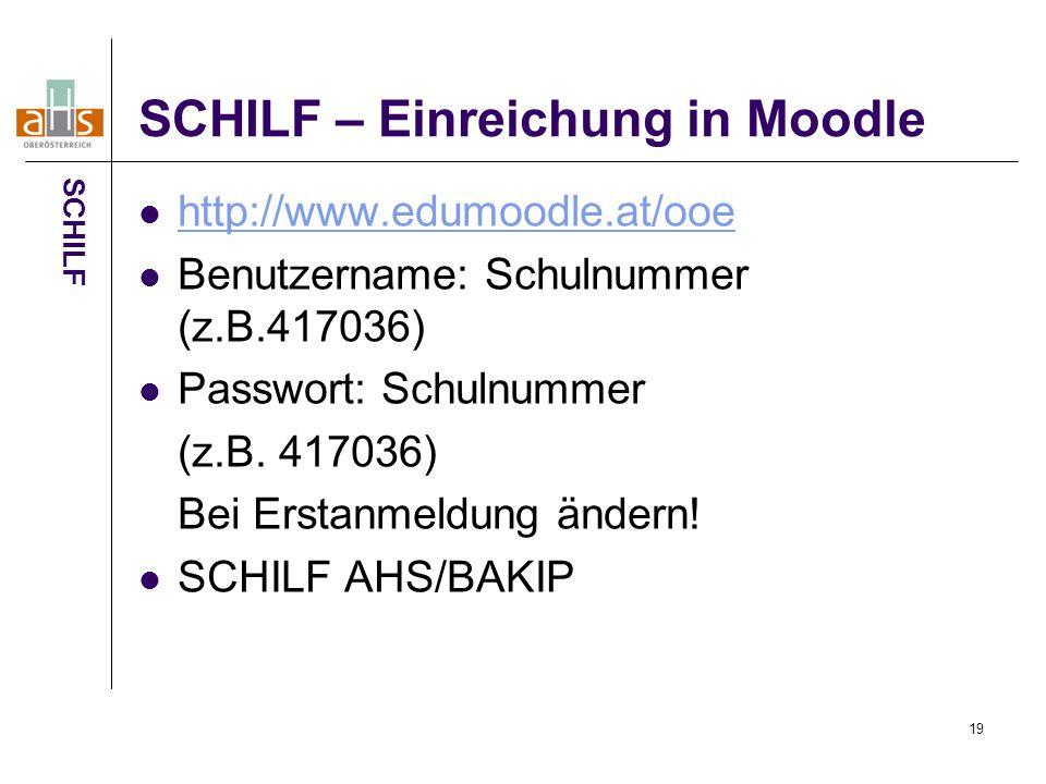 19 SCHILF – Einreichung in Moodle http://www.edumoodle.at/ooe Benutzername: Schulnummer (z.B.417036) Passwort: Schulnummer (z.B.