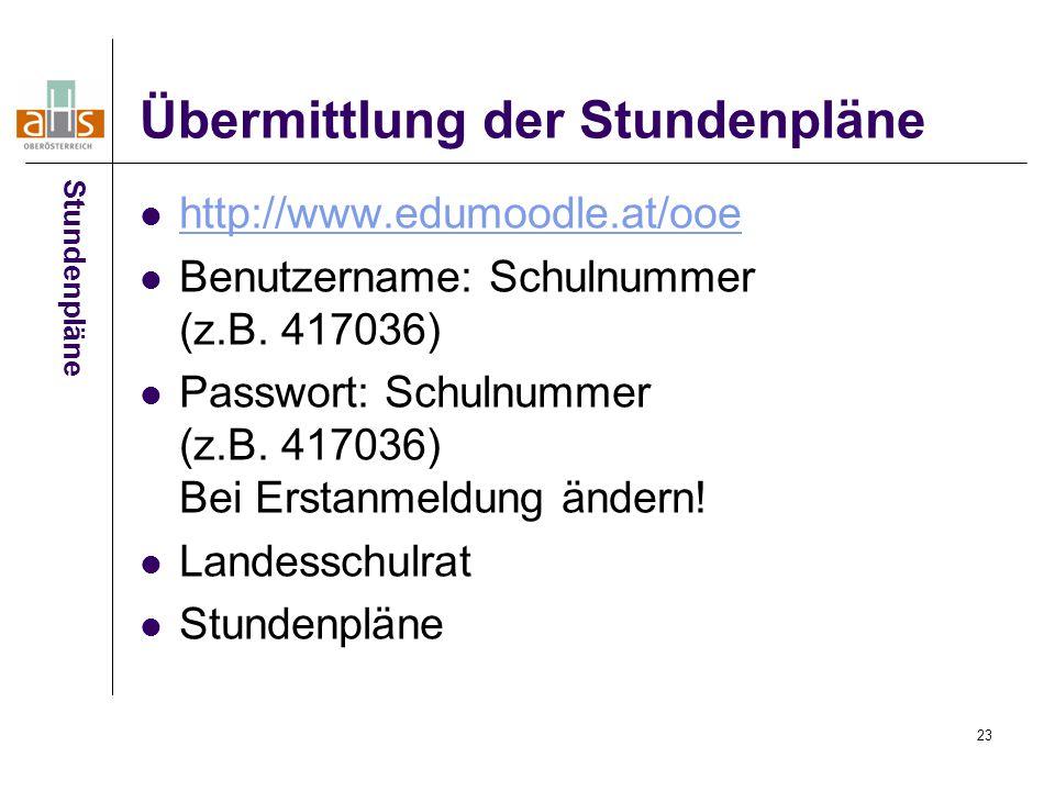 23 Übermittlung der Stundenpläne http://www.edumoodle.at/ooe Benutzername: Schulnummer (z.B.