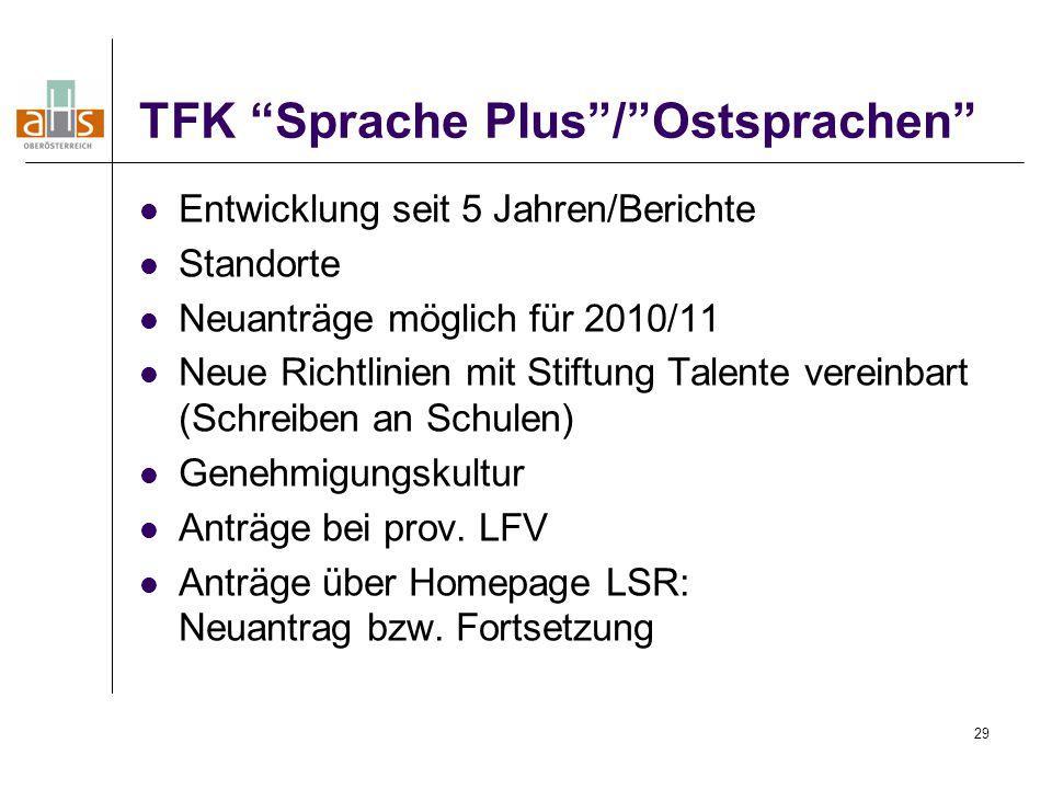 29 TFK Sprache Plus / Ostsprachen Entwicklung seit 5 Jahren/Berichte Standorte Neuanträge möglich für 2010/11 Neue Richtlinien mit Stiftung Talente vereinbart (Schreiben an Schulen) Genehmigungskultur Anträge bei prov.