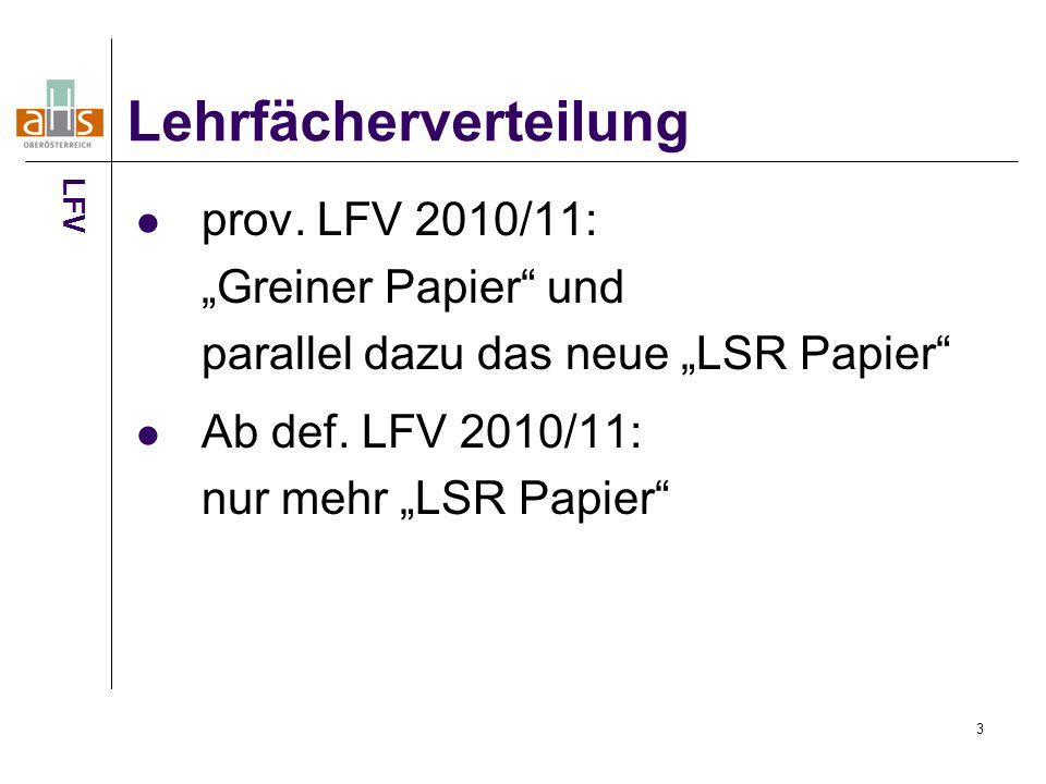"""3 prov.LFV 2010/11: """"Greiner Papier und parallel dazu das neue """"LSR Papier Ab def."""