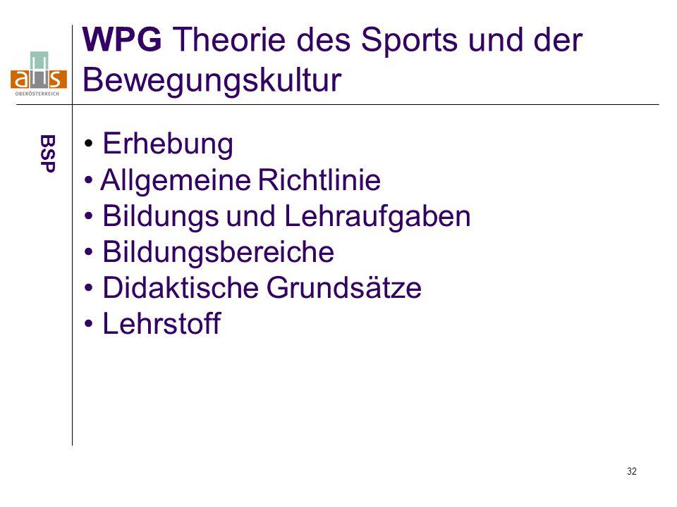 32 WPG Theorie des Sports und der Bewegungskultur BSP Erhebung Allgemeine Richtlinie Bildungs und Lehraufgaben Bildungsbereiche Didaktische Grundsätze Lehrstoff