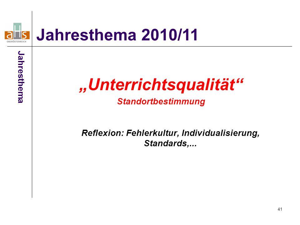 """41 """"Unterrichtsqualität Standortbestimmung Reflexion: Fehlerkultur, Individualisierung, Standards,..."""