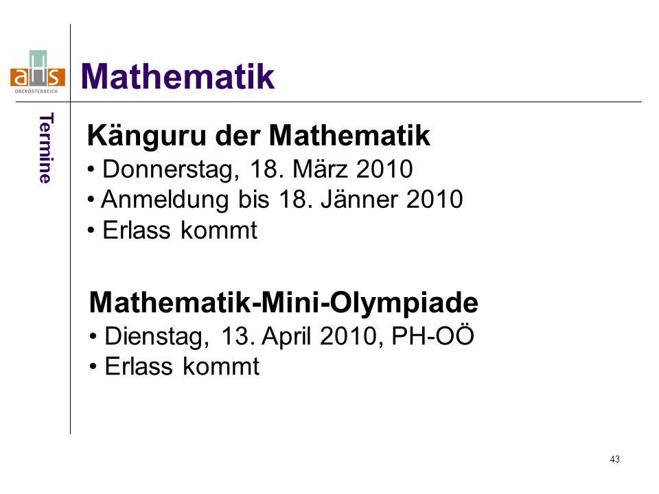 43 Mathematik Termine Känguru der Mathematik Donnerstag, 18.
