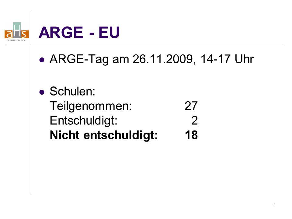 5 ARGE - EU ARGE-Tag am 26.11.2009, 14-17 Uhr Schulen: Teilgenommen: 27 Entschuldigt: 2 Nicht entschuldigt:18