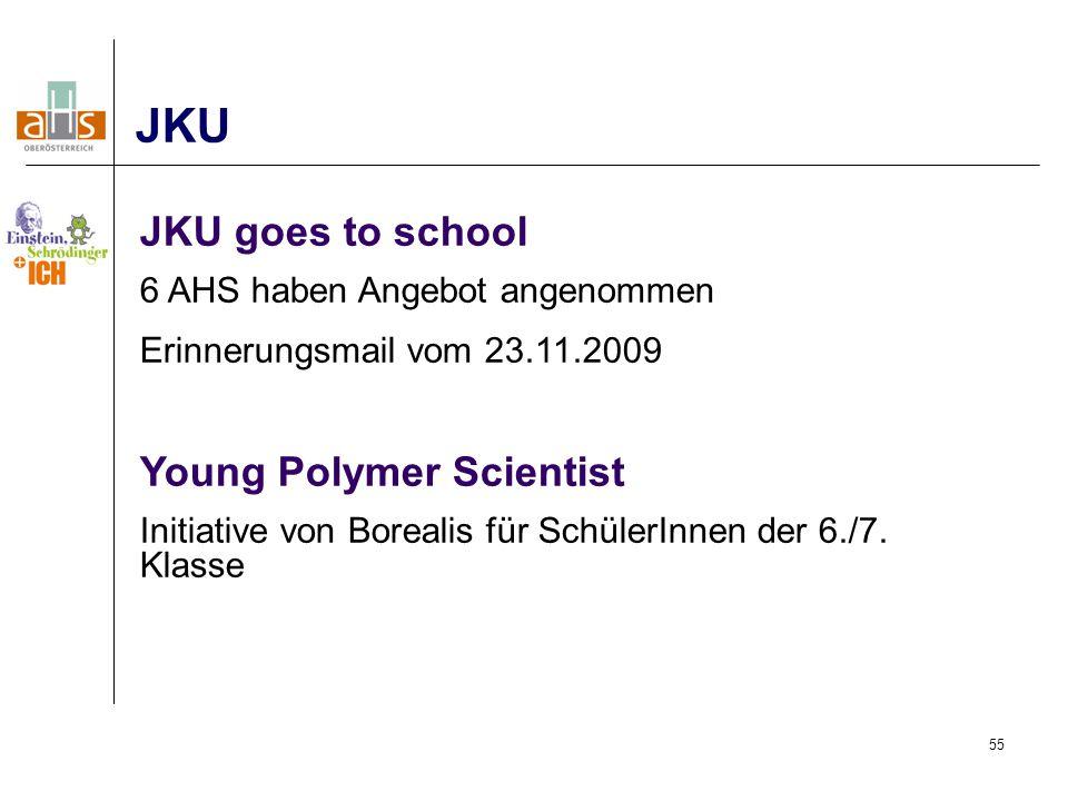 55 JKU JKU goes to school 6 AHS haben Angebot angenommen Erinnerungsmail vom 23.11.2009 Young Polymer Scientist Initiative von Borealis für SchülerInnen der 6./7.