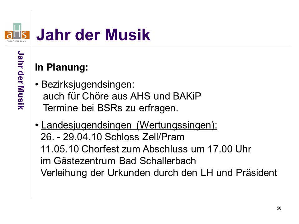 58 Jahr der Musik In Planung: Bezirksjugendsingen: auch für Chöre aus AHS und BAKiP Termine bei BSRs zu erfragen.