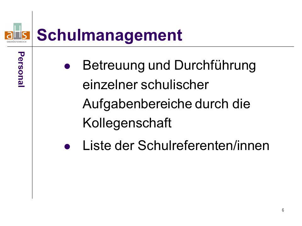 6 Betreuung und Durchführung einzelner schulischer Aufgabenbereiche durch die Kollegenschaft Liste der Schulreferenten/innen Schulmanagement Personal