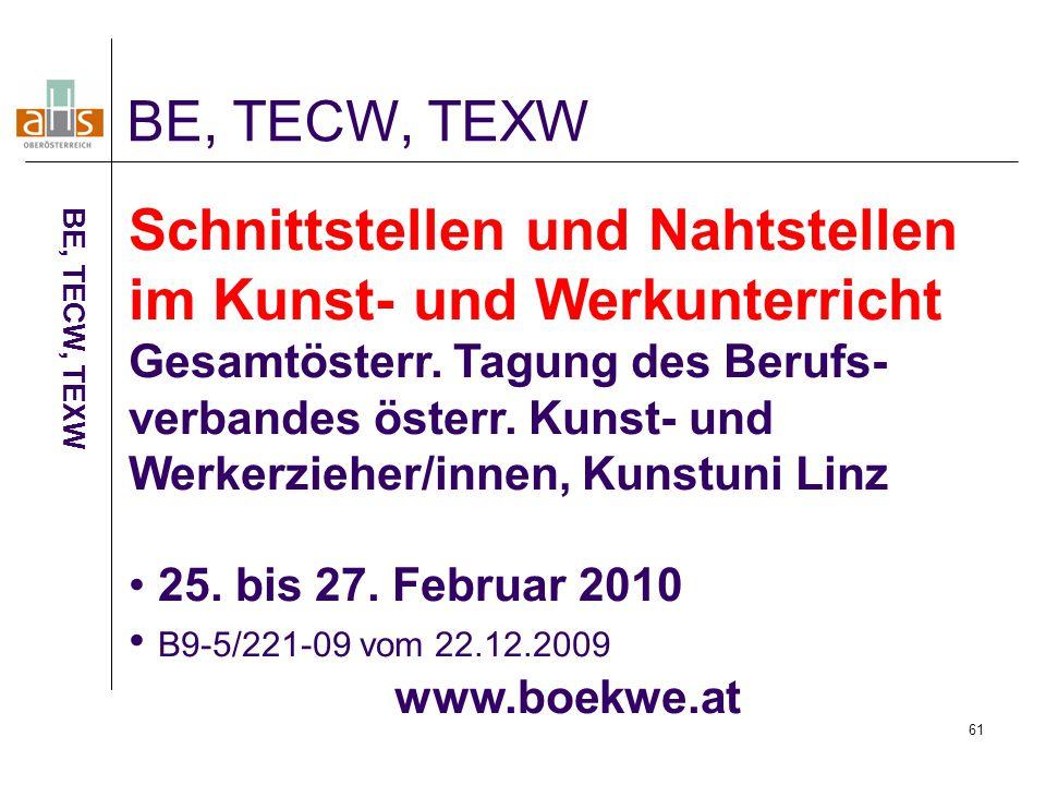 61 BE, TECW, TEXW Schnittstellen und Nahtstellen im Kunst- und Werkunterricht Gesamtösterr.