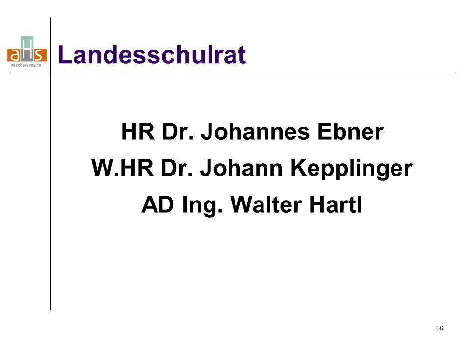 66 HR Dr. Johannes Ebner W.HR Dr. Johann Kepplinger AD Ing. Walter Hartl Landesschulrat