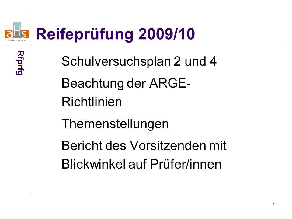 7 Schulversuchsplan 2 und 4 Beachtung der ARGE- Richtlinien Themenstellungen Bericht des Vorsitzenden mit Blickwinkel auf Prüfer/innen Reifeprüfung 2009/10 Rfprfg